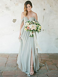 cheap -A-Line Sweetheart Neckline Floor Length Chiffon Bridesmaid Dress with Pleats / Split Front