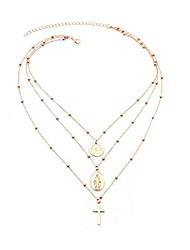 cheap -gold necklace decorated madonna crucifix (gold)