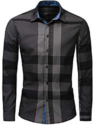 cheap -men's shirt long sleeve plaid checked button down classic cotton shirt regular fit dark blue xxl