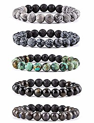 cheap -lava rock stone essential oil diffuser bracelet - natural semi precious gemstone beads healing crystal bracelet(#3 set of 5)
