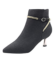 cheap -Women's Boots Stiletto Heel Pointed Toe Booties Ankle Boots Minimalism Daily Walking Shoes PU Rhinestone Solid Colored Black Burgundy / Booties / Ankle Boots