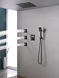 cheap -Shower Faucet / Rainfall Shower Head System Set - Handshower Included Fixed Mount Rainfall Shower Contemporary Painted Finishes Mount Inside Ceramic Valve Bath Shower Mixer Taps