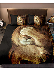 cheap -3D Lion Print 3-Piece Duvet Cover Set Hotel Bedding Sets Comforter Cover with Soft Lightweight Microfiber, Include 1 Duvet Cover, 2 Pillowcases for Double/Queen/King(1 Pillowcase for Twin/Single)
