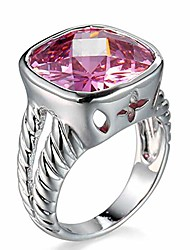 cheap -white gold pink orange cubic zircon twisted cable antique ring wire hollow punk band (pink, 6)