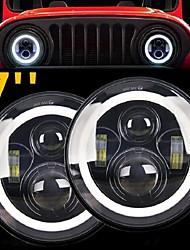 cheap -2 Pcs 7 Inch LED Headlight 50W 30W Angle Eye DRL Amber Car Led Lights 12V 24V Hi / Lo Beam for Lada Niva 4x4 Offroad Jeep