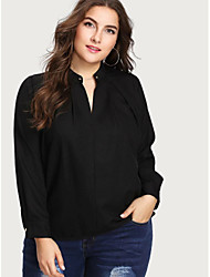 cheap -Women's Plus Size Tops Blouse Shirt Plain Large Size V Neck Long Sleeve Big Size