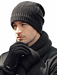 cheap -winter warm wool knit hat soft cold weather stylish thick knit cuff beanie cap plus velvet trendy outdoor wool cap unisex toboggan watch caps for daddy grandfather great gift