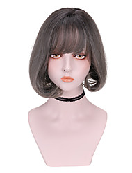 cheap -Synthetic Wig Curly Bob With Bangs Wig Short Dark Brown Brown Grey Synthetic Hair 8 inch Women's Comfy Fluffy Black Brown