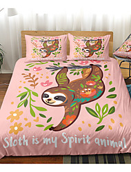 cheap -Cartoon Sloth Print 3-Piece Duvet Cover Set Hotel Bedding Sets Comforter Cover with Soft Lightweight Microfiber For Holiday Decoration(Include 1 Duvet Cover and 1or 2 Pillowcases)