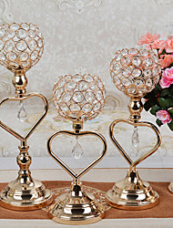cheap -Crystal Candlestick Light Luxury Gold Lron Candle Cup Living Room Dining Table Romantic Candlelight Dinner Decoration Candlestick Decorations