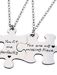 cheap -couples puzzle keychain you are my missing piece you fit me perfectly set of two (necklace suit)