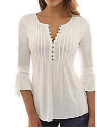 cheap -Women's Plus Size Tops Blouse Plain Long Sleeve V Neck Big Size