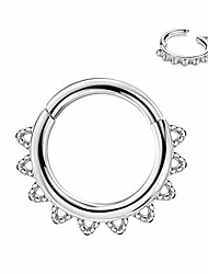 cheap -316l surgical steel daith earrings hoop 16g septum nose rings septum jewelry stailess steel septum rings for women men 16 gauge septum piercing 8mm silver septum clicker helix hoop cartilage earring