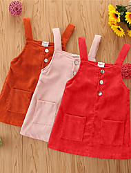 cheap -Toddler Little Girls' Dress Solid Colored Red Blushing Pink Orange Above Knee Sleeveless Dresses Children's Day