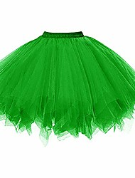cheap -ladies petticoat 50s rockabilly years retro tutu ballet tulle skirt cosplay crinoline green large / x-large