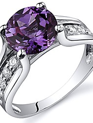 cheap -simulated alexandrite cathedral ring in sterling silver, round shape, 8mm, 2.75 carat total, comfort fit, size 5