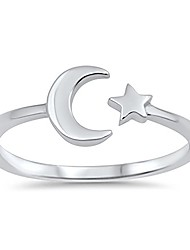 cheap -sterling silver celestial star & moon open ring sizes 2-10 colors available