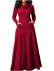 cheap -Plus Size Women's Sheath Dress Maxi long Dress Long Sleeve Solid Color Pocket Spring &  Fall Casual Cotton Blend Regular Fit cm to inches Big and tall