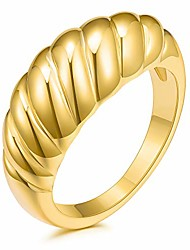 cheap -18k gold plated croissant braided twisted chunky dome ring stacking band women jewelry minimalist ring size 5 to 10
