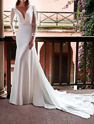 cheap -Sheath / Column Wedding Dresses V Neck Court Train Chiffon Satin Tulle Long Sleeve Country Simple with 2021