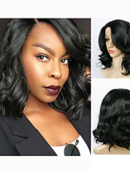 cheap -Synthetic Wig Water Wave Kardashian Water Wave Bob Wig Medium Length Jet Black Synthetic Hair Women's Side Part African American Wig Black