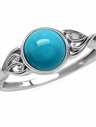 cheap -7mm genuine arizona turquoise 925 sterling silver victorian style solitaire ring size 6
