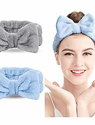 cheap -spa headband 1 pack bow hair band women facial makeup head band soft coral fleece head wraps for shower washing face
