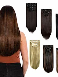 """cheap -clip in hair extensions straight curly wavy 4 pieces set thick clip in on synthetic hair extensions hairpieces for women 18"""" 24"""""""