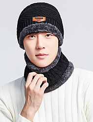 cheap -Men's Hiking Cap 2 PCS Winter Outdoor Windproof Fleece Lining Warm Soft Neck Gaiter Neck Tube Skull Cap Beanie Solid Color Orlon Black Burgundy Grey for Climbing Camping / Hiking / Caving Traveling