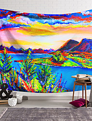 cheap -Oil Painting Style Wall Tapestry Art Decor Blanket Curtain Hanging Home Bedroom Living Room Decoration Polyester Landscape Mountain Lake River Tree
