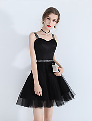 cheap -A-Line Little Black Dress Sexy Homecoming Party Wear Dress Spaghetti Strap Sleeveless Short / Mini Tulle with Lace Insert 2021