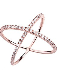cheap -womens criss cross ring x ring micropave cz inlay 14k rose gold plating size 6