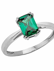 cheap -fine sterling silver 1 ct emerald cut may birthstone statement ring (size 4.75)
