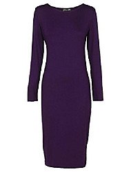 cheap -womens ladies long sleeve scoop neck midi dress - purple - 16-18