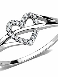 cheap -stainless steel heart shaped wedding engagement anniversary propose ring (silver, 5)