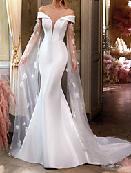 cheap -Mermaid / Trumpet Wedding Dresses Off Shoulder Court Train Lace Satin Tulle Sleeveless Country Formal Simple with Appliques 2020