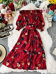 cheap -Women's Chiffon Dress Knee Length Dress - Long Sleeve Floral Ruched Patchwork Print Summer Fall Off Shoulder Casual Puff Sleeve Chiffon 2020 Blue Red One-Size