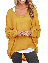 cheap -* Ladies women knitted sweaters pullovers pullover knitted tops oversized summer autumn spring one size (627 curry)