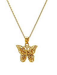 "cheap -14k gold/18k gold plated hollow butterfly pendant necklace for women men girls boys, 2"" extension (18k-gold)"