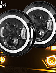 cheap -2 Pcs 7 Inch Led Headlight H4 DRL Round 7'' Headlights with Yellow & White Angel Eye for Jeep Wrangler Lada Niva 4x4 50W 30W