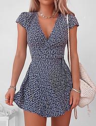 cheap -Women's A Line Dress Short Mini Dress Black Navy Blue Short Sleeve Floral Polka Dot Print Print Spring Summer V Neck Casual Holiday 2021 S M L XL