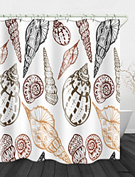 cheap -Conch On White Print Waterproof Fabric Shower Curtain For Bathroom Home Decor Covered Bathtub Curtains Liner Includes With Hooks