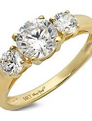 cheap -1.4 ct round cut solitaire three stone ring 14k yellow gold engagement wedding band, size 7.5