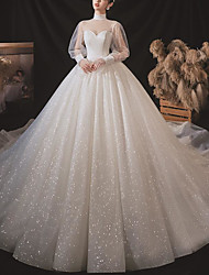 cheap -Princess Ball Gown Wedding Dresses High Neck Court Train Tulle Long Sleeve Formal Romantic Luxurious Sparkle & Shine with Pleats 2020