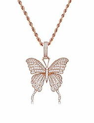 cheap -fully iced out lab diamond butterfly chain pendant necklace for women 14k real gold plated birthday gifts (rope rose gold)