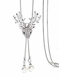 cheap -women long rhinestone elk deer pendant necklace silver