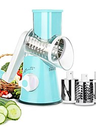 cheap -Hand Rotary Grater Multi-function Vegetable Slicer with 3 Interchangeable Blades Rotary Grater Slicer for Fruit Vegetables Nuts Household Dicer Quick Rotary Cutter