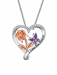 cheap -s925 sterling silver rose flower butterfly love heart pendant necklace for women teen