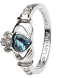 cheap -december birth month silver claddagh ring ls-sl90-12 - size: 6 made in ireland.