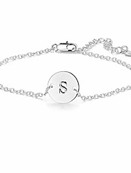 cheap -silver b initial bracelet for women adjustable round disc alphabet letters bracelet for girls (b)